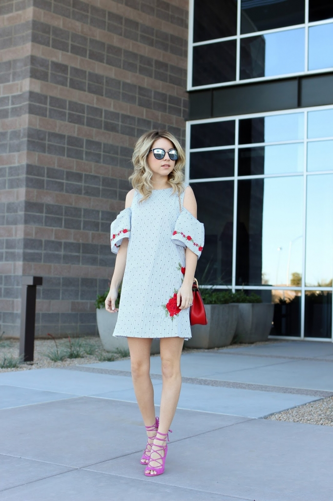 valentine's day dress - roses - rose dress - cold shoulder dress - sunglasses - pink heels outfit