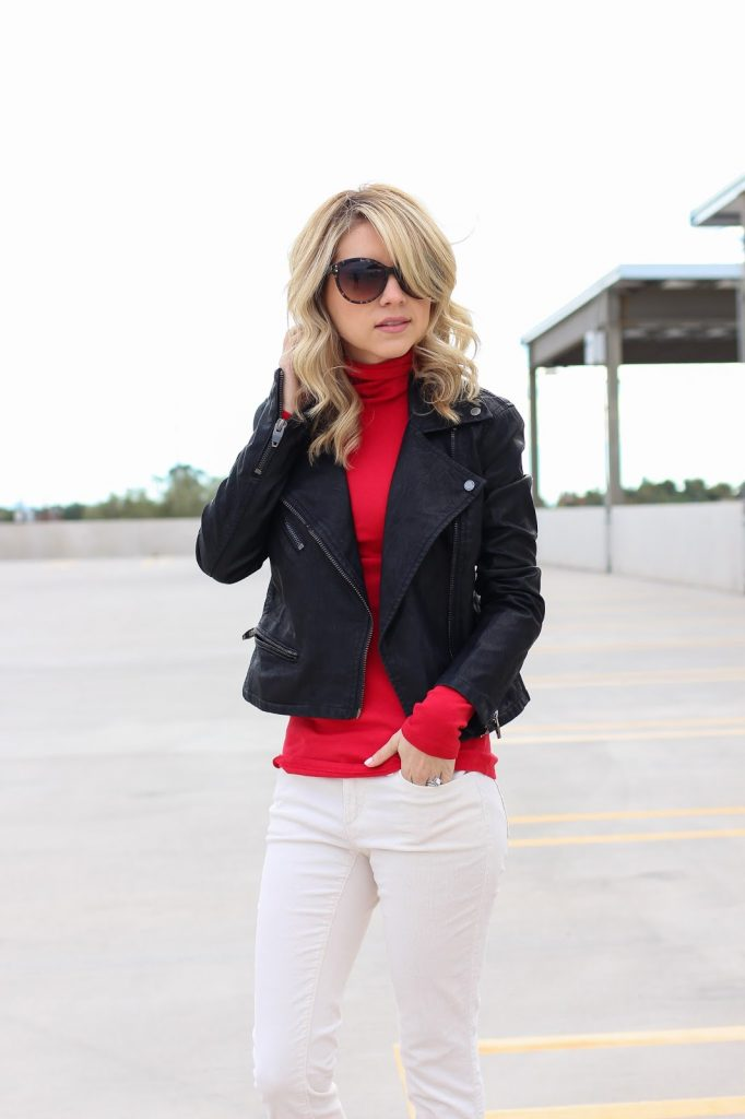casual valentines look - blank nyc jacket - red top - leopard heels