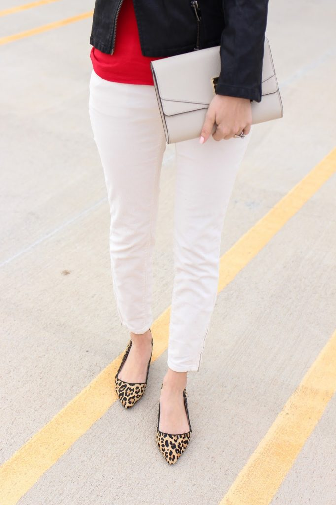 leopard kitten heels - henri bendel clutch - casual accessories