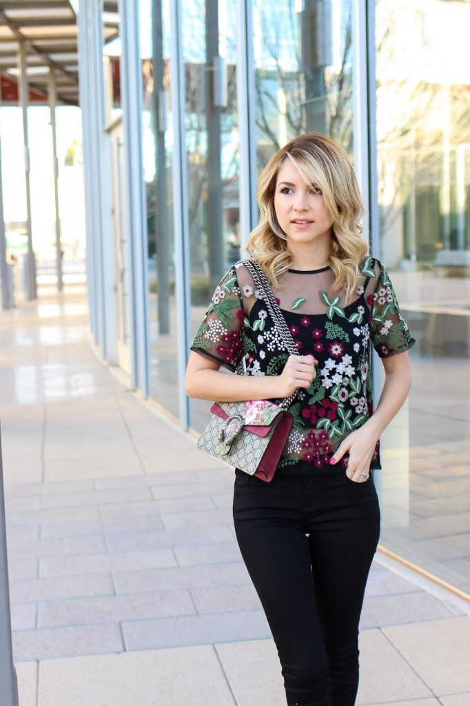 fashion - embroidered top - mott and bow jeans - spring fashion