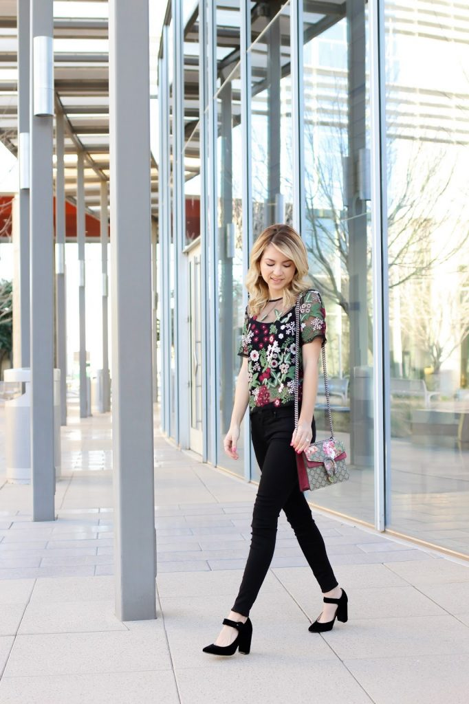 how to - spring style - floral top - marc fisher - gucci - lucy paris