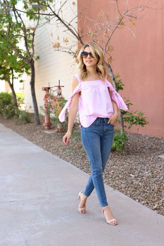 pink top - high waisted jeans - cold shoulder - casual outfit