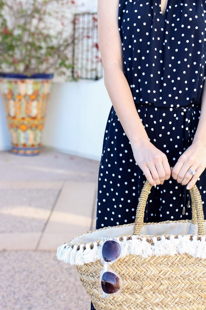 summer accessories - straw bag - polka dot jumpsuit