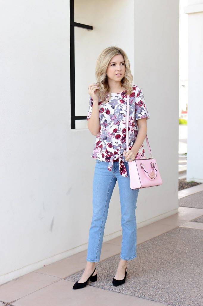 fashion - style - floral - tie front top