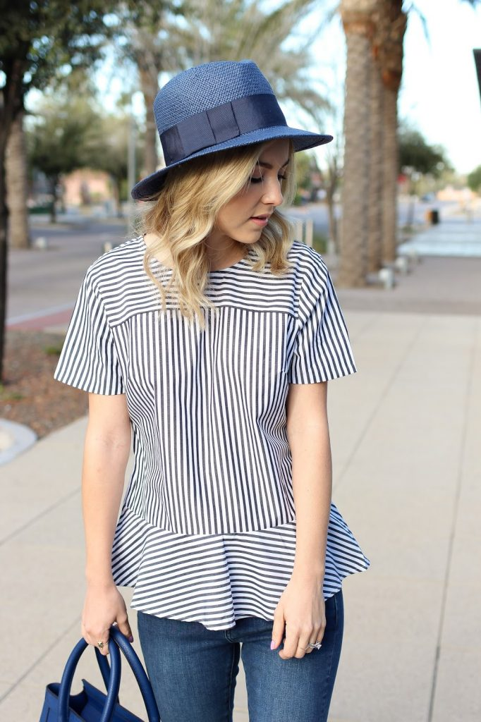 fashion - stripe top - straw hat - blue outfit