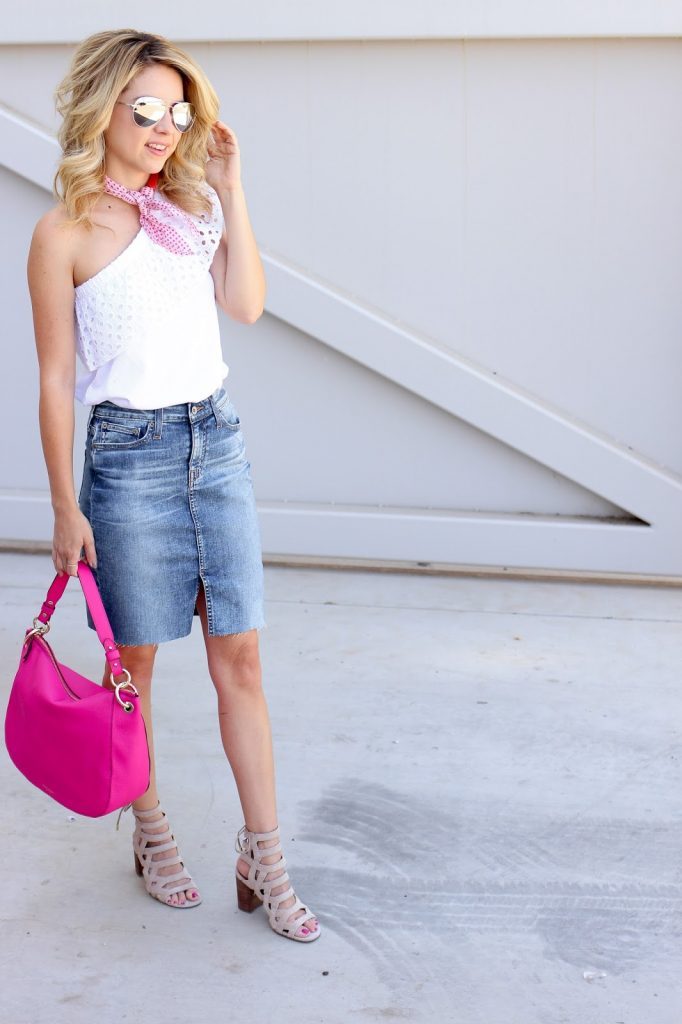 denim skirt - eyelet top - bandana scarf - pink bag