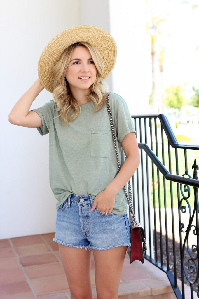 sage green t-shirt - boater hat - cut off shorts - casual style - simply sutter