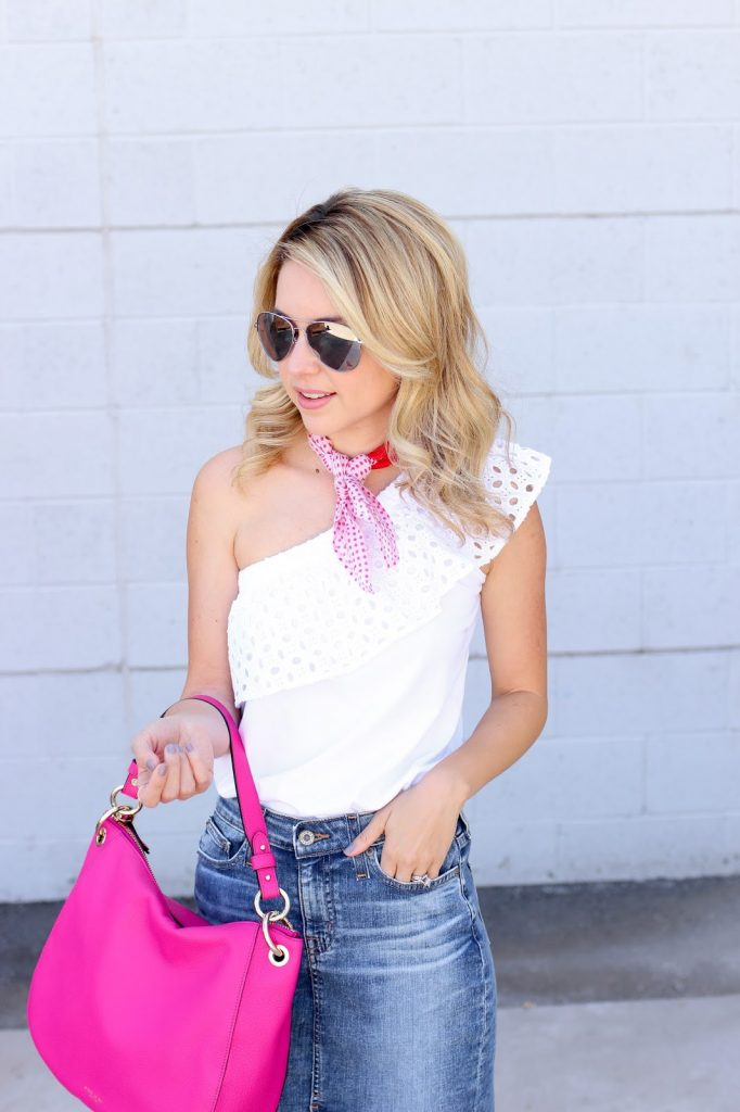 big star denim skirt - cut off skirt - pink purse - one shoulder top
