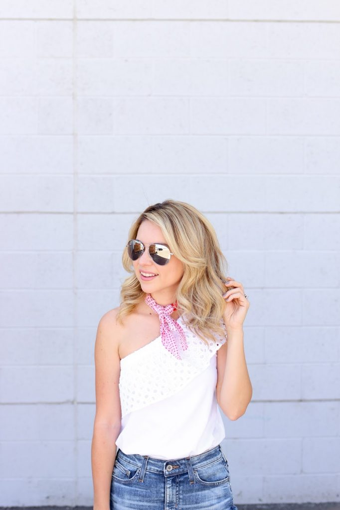 outfit - denim - eyelet top - scarf - spring style