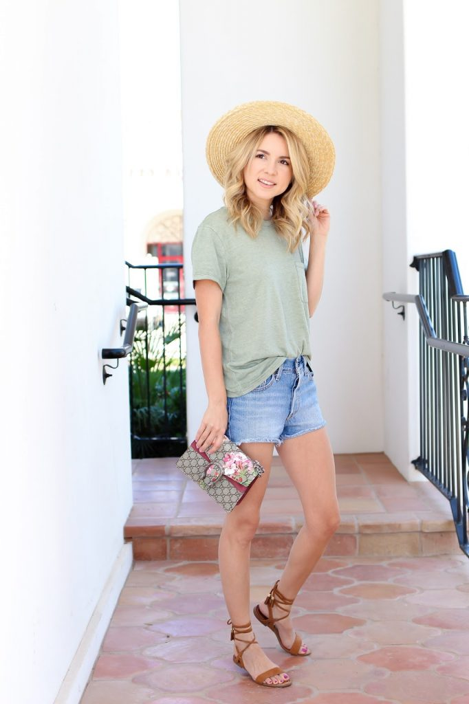 abercrombie - sage tee - denim shorts - gucci - simply sutter