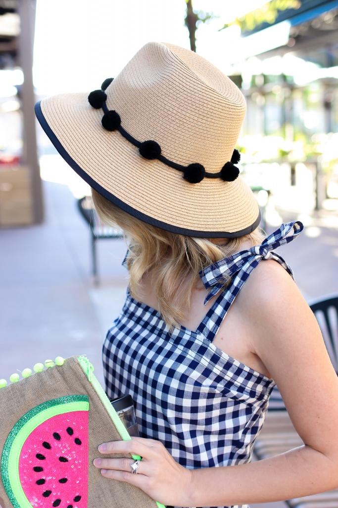 express hat - pom fedora - gingham dress - plaid dress - watermelon clutch