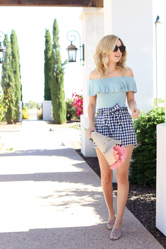gingham shorts outfit - spring style - summer style - express - simply sutter - sunglasses