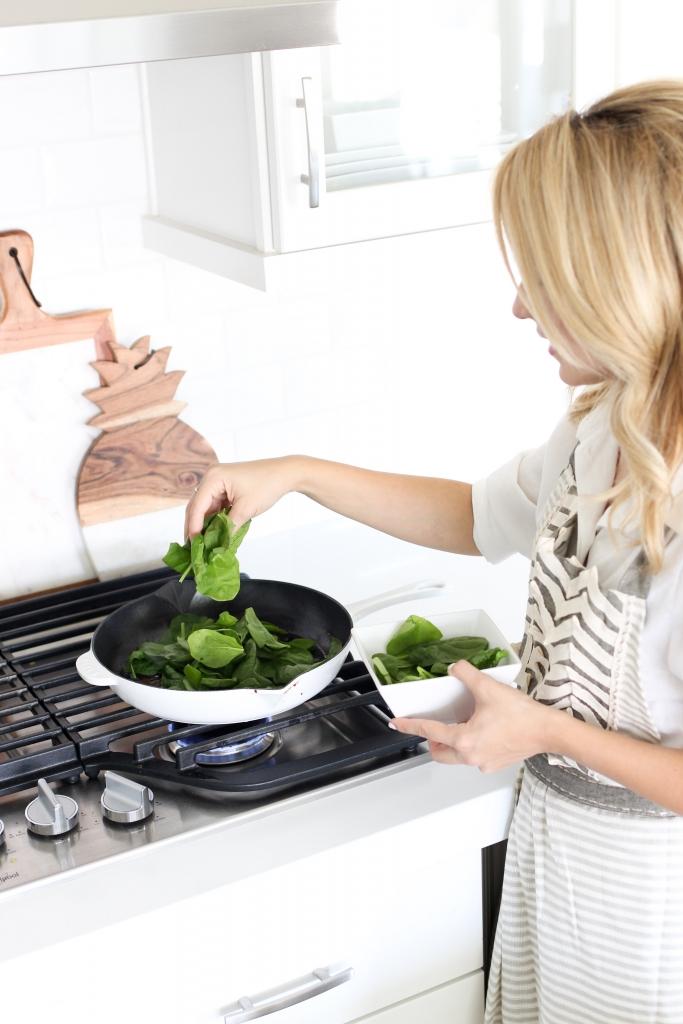 Monic Sutter - Simply Sutter - Brunch Recipe - Spinach Pancetta recipe - Staub - in the kitchen