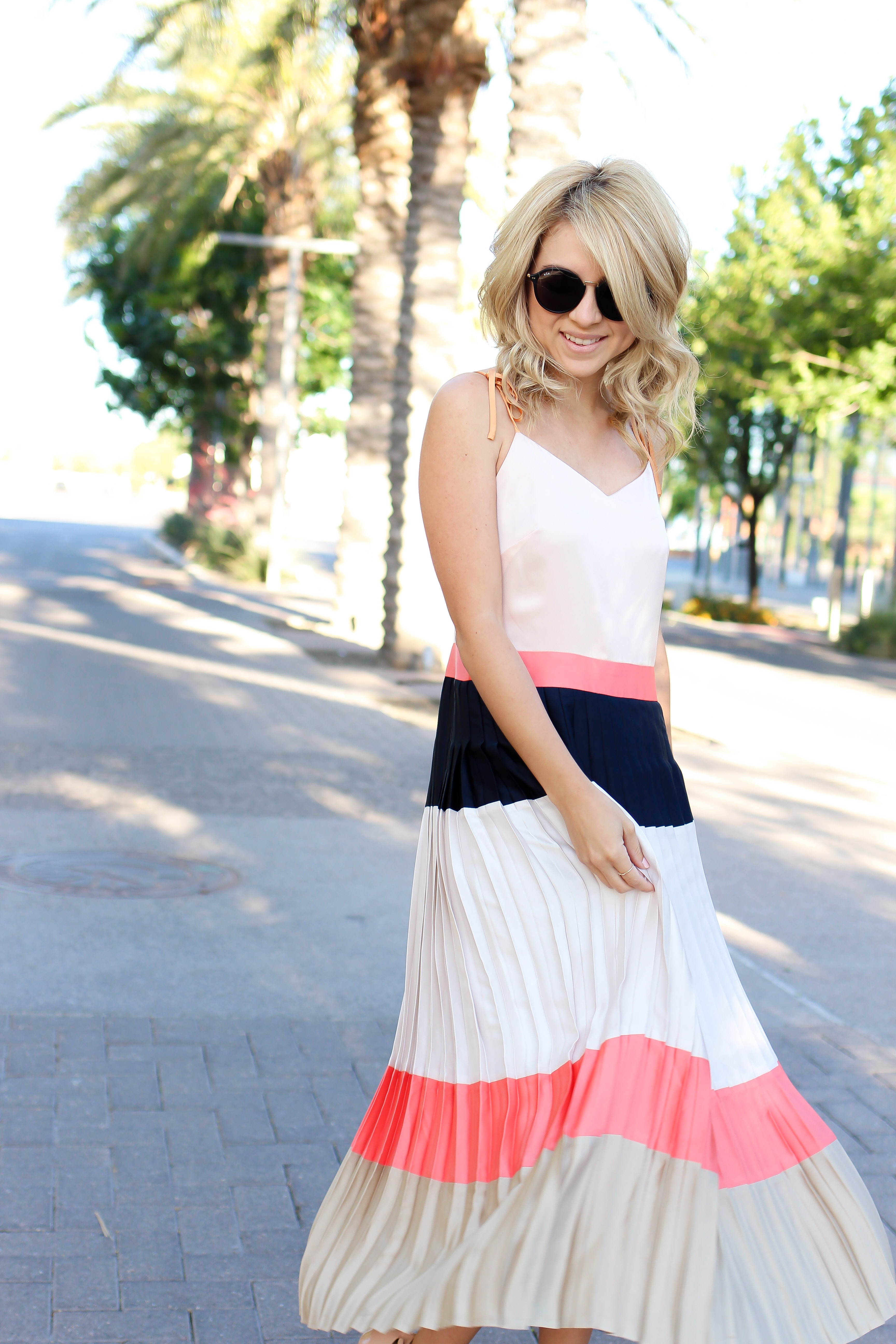 Summer Outfit Color Block Pleated Dress Banana Republic Fashion2542