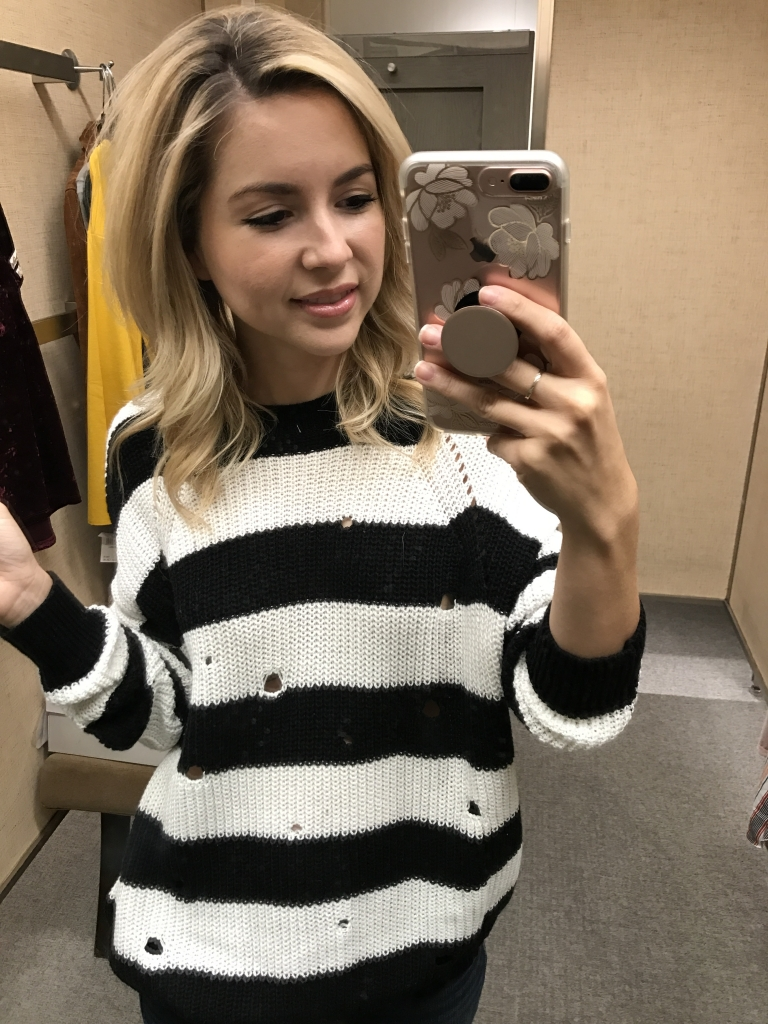 Stripe sweater - black and white - nordstrom try on