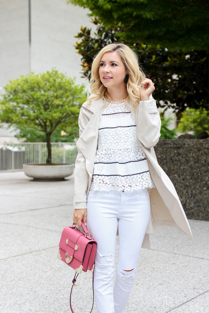 Simply Sutter - Trench - Stripe Lace top - white jeans - Seattle