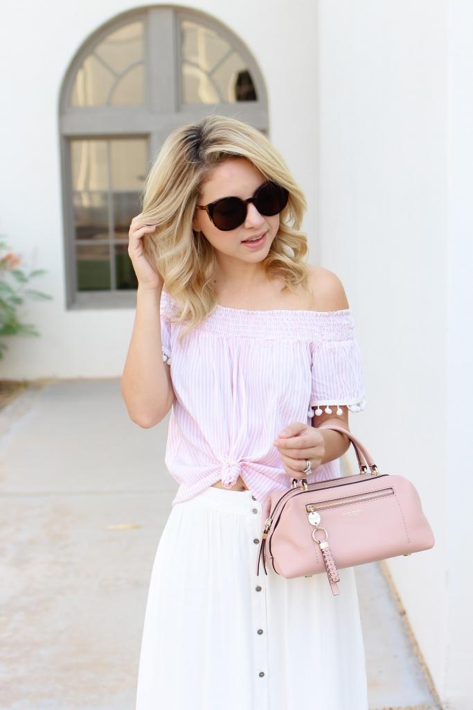 pink off the shoulder top - nordstrom - henri bendel - summer skirt