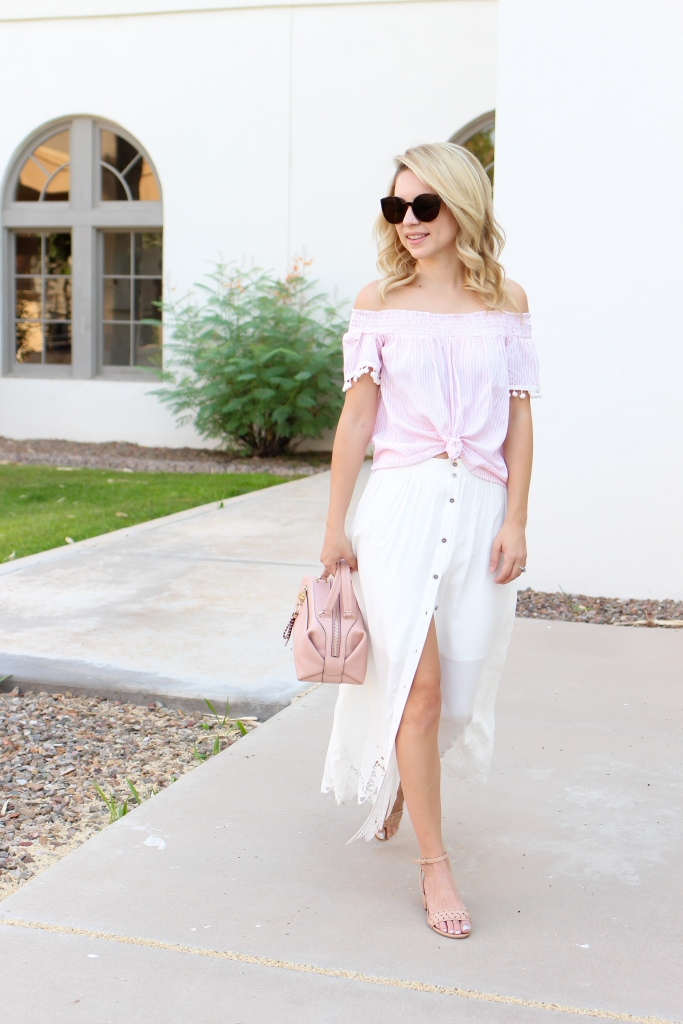 summer skirt - summer outfit - astr skirt - pink and white outfit - summer style