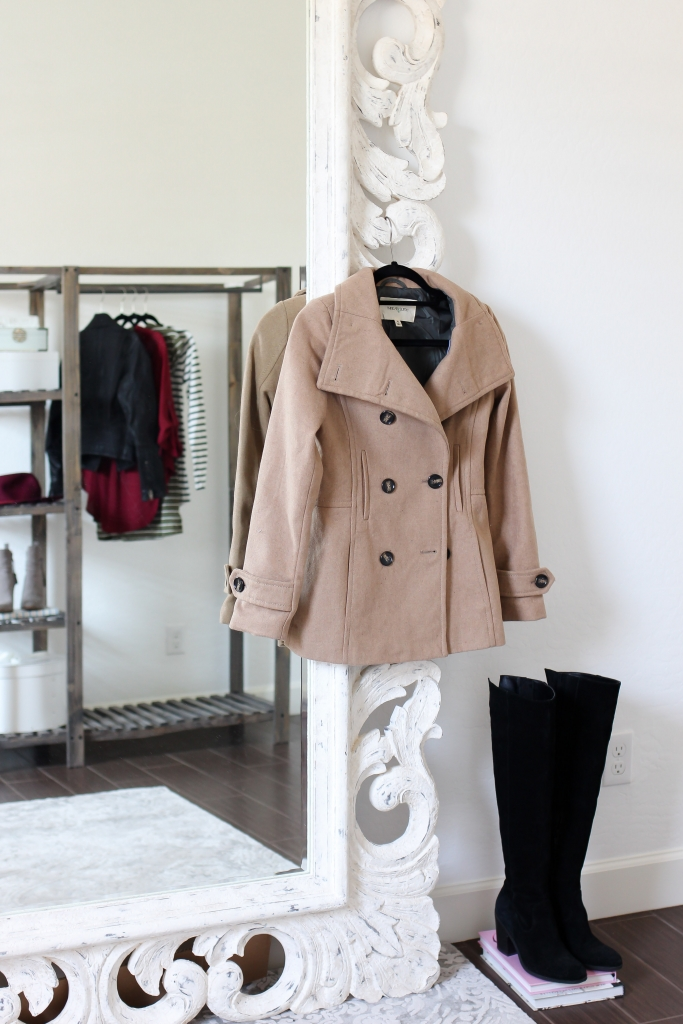 camel coat - peacoat - nordstrom - over the knee boots