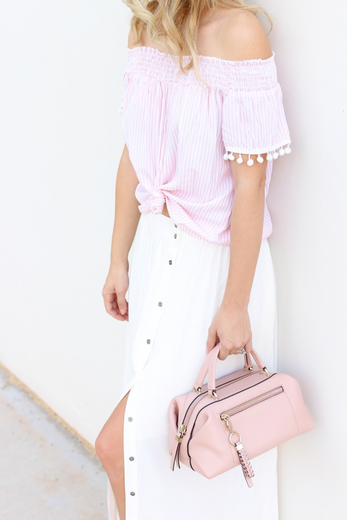 pink bag - white maxi skirt - skirt style - summer outfit