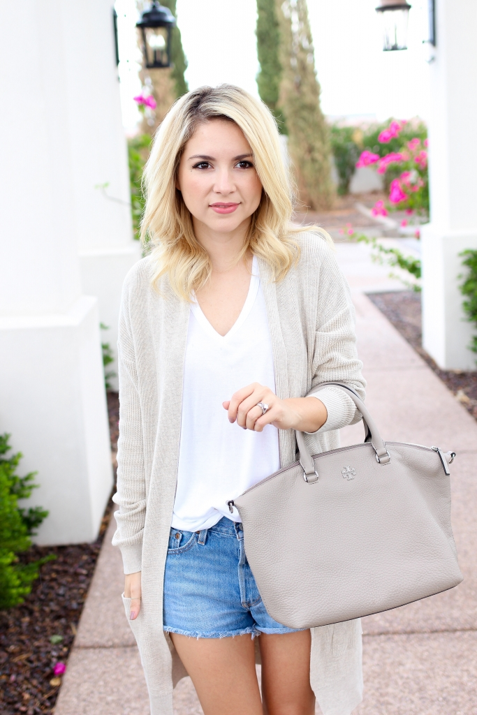 Simply Sutter - fall look - denim shorts outfit - fall transition look - shorts and cardigan