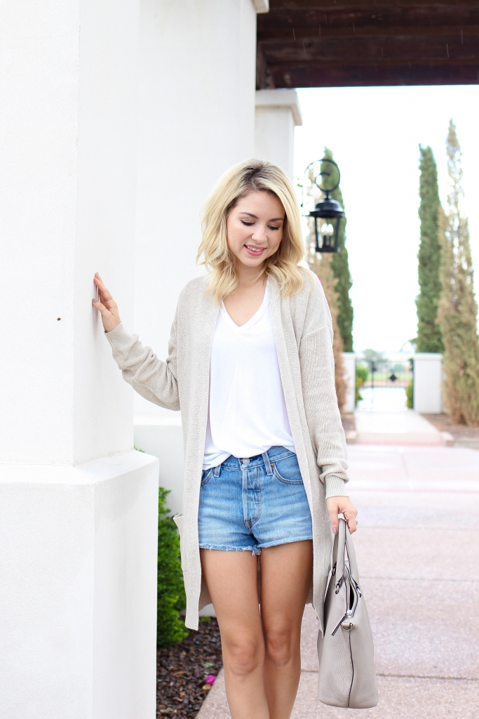 Simply Sutter - fall look - denim shorts outfit - fall transition look