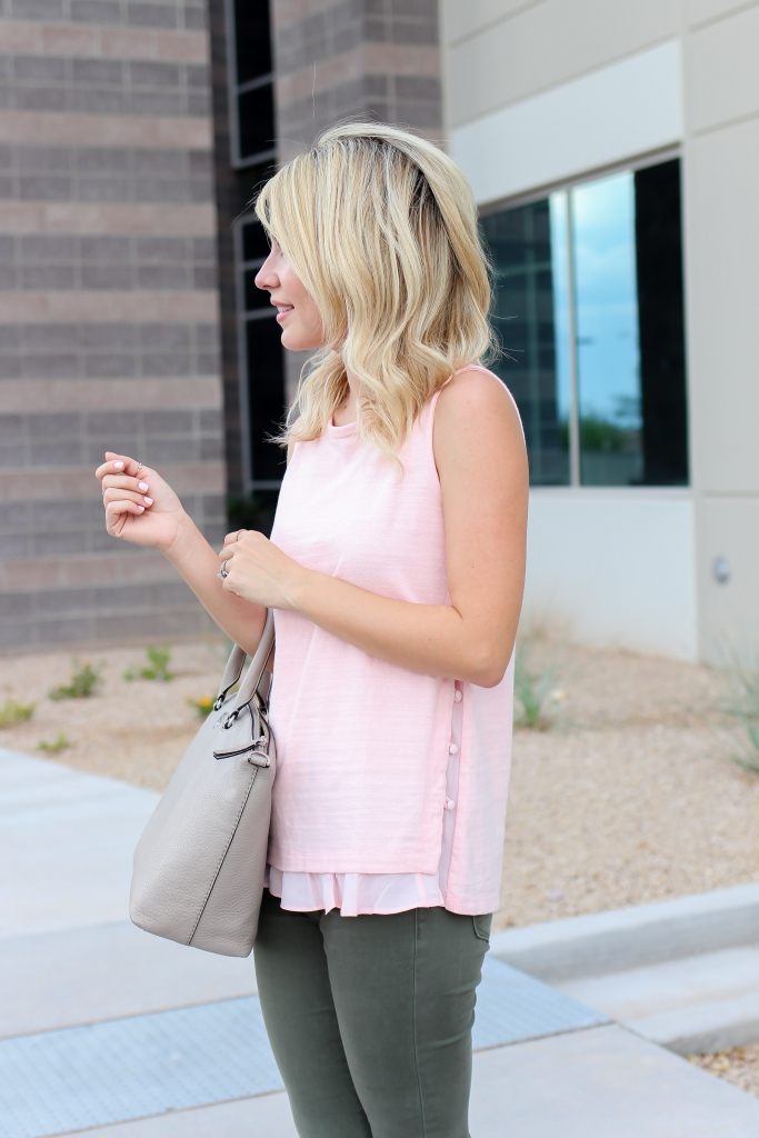 Simply Sutter - pink ruffle top - Loft - pink outfits