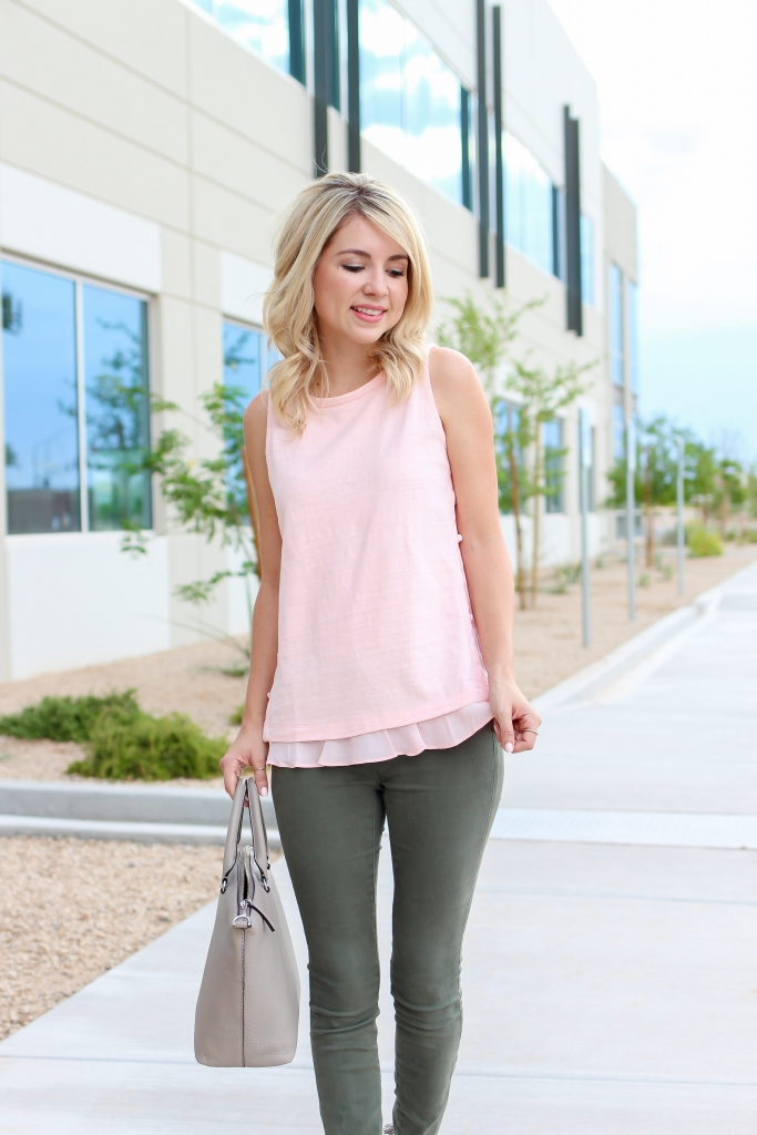Simply Sutter - Loft - Pink ruffle top - pink and olive