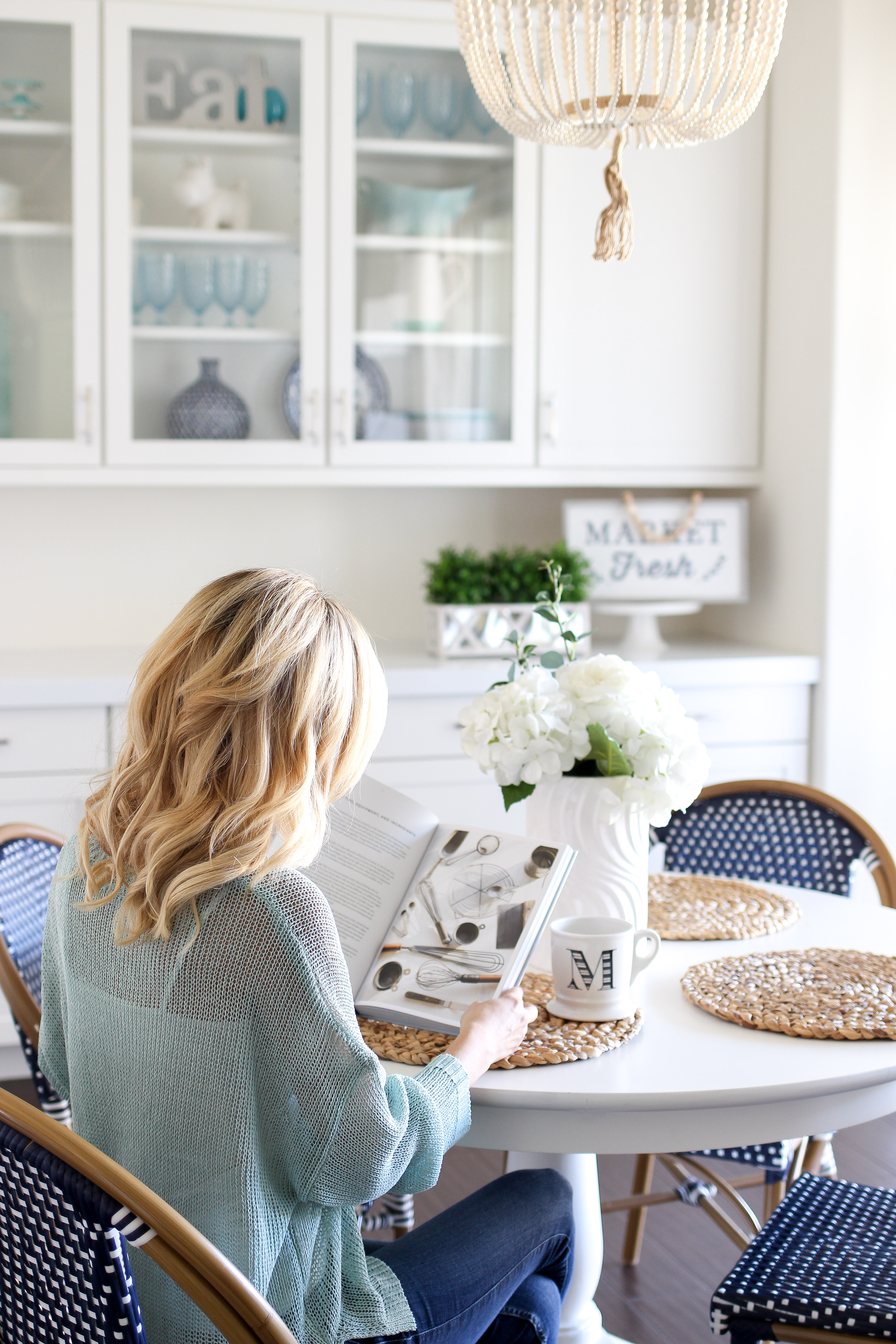 Simply Sutter – Kitchen Nook – Beaded Chandelier – white kitchen