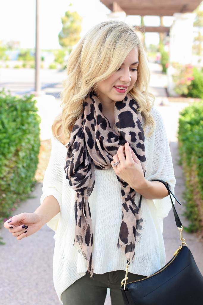 Simply Sutter - fall style - leopard scarf - olive green pants - fashion - fall outfit