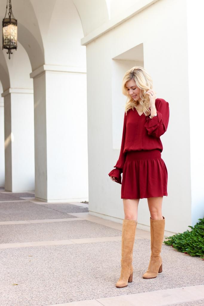 Simply Sutter - Drop Waist Dress - Nordstrom - fall dress - tall boots