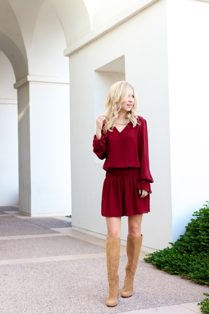 Simply Sutter - fall fashion - nordstrom - drop waist dress - boots and dress
