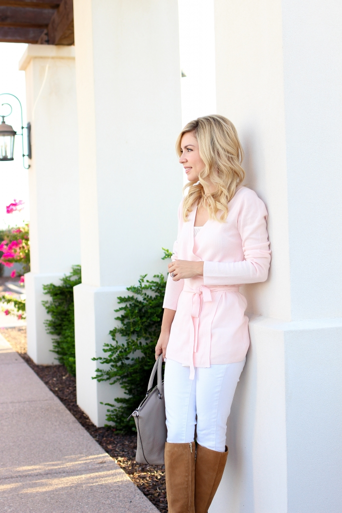 Simply Sutter - Wrap cardigan - white jeans - fall fashion