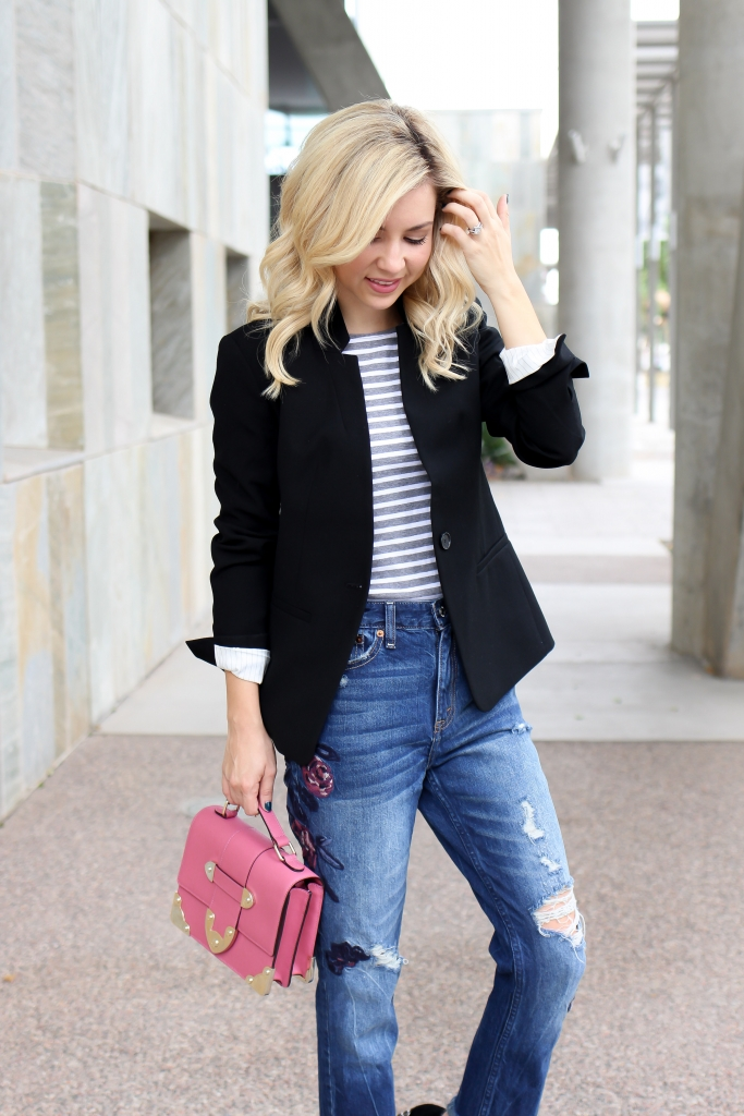Simply Sutter - Blazer - Girlfriend Jeans - embroidered jeans - pink bag