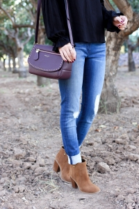 Simply Sutter - Fall Style - Plum handbag - denim outfit for fall