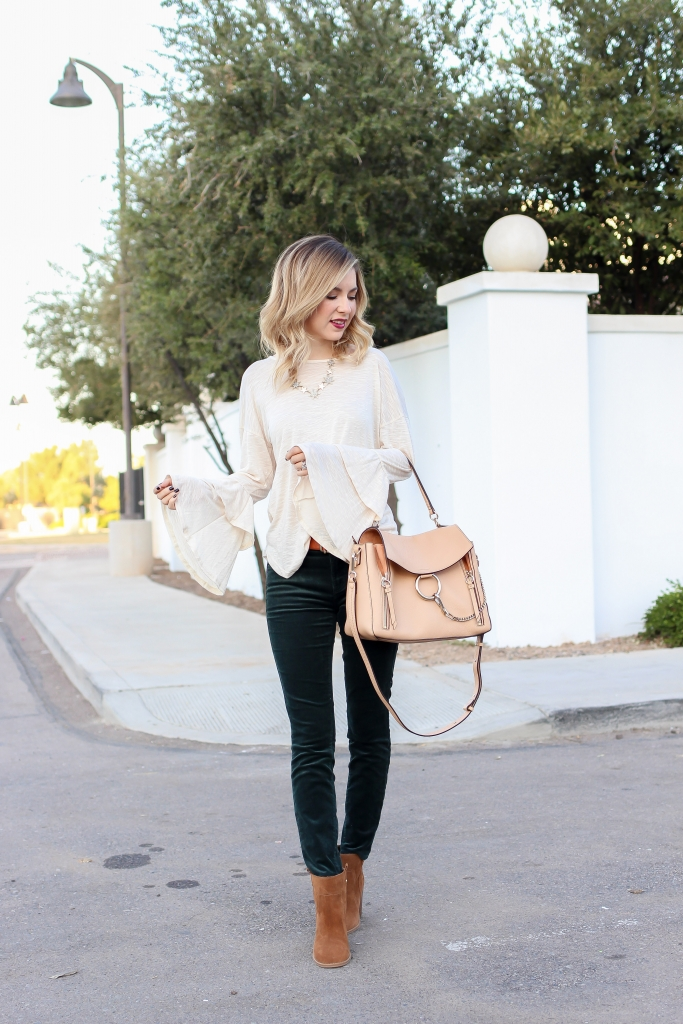 Simply Sutter - Fall Fashion - Corduroy pants - ruffle top - chloe faye day bag