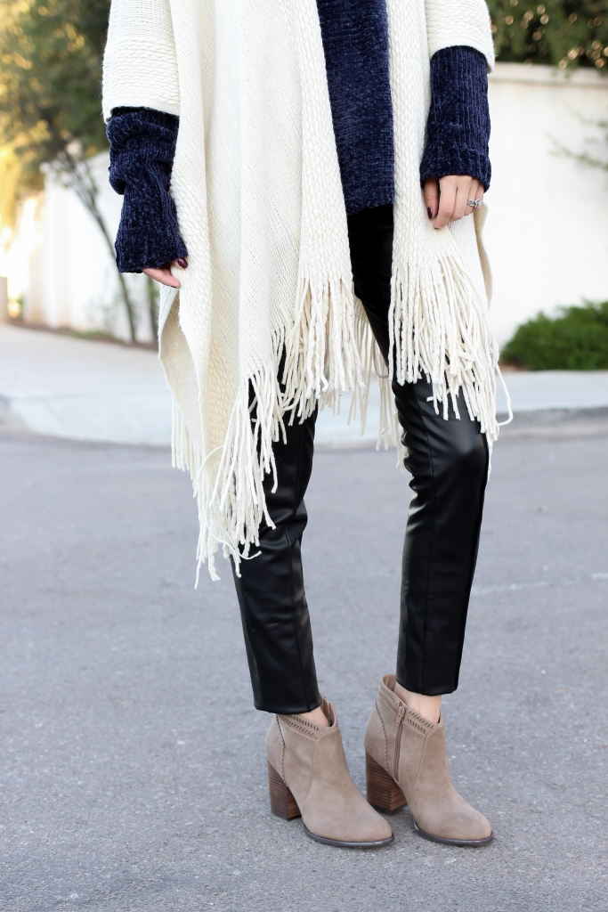Simply Sutter - Fringe Poncho - leggings - fall essentials - ankle boots