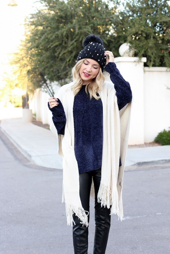 Simply Sutter - Casual Fall Outfit - Pearl Beanie - Leather leggings outfit