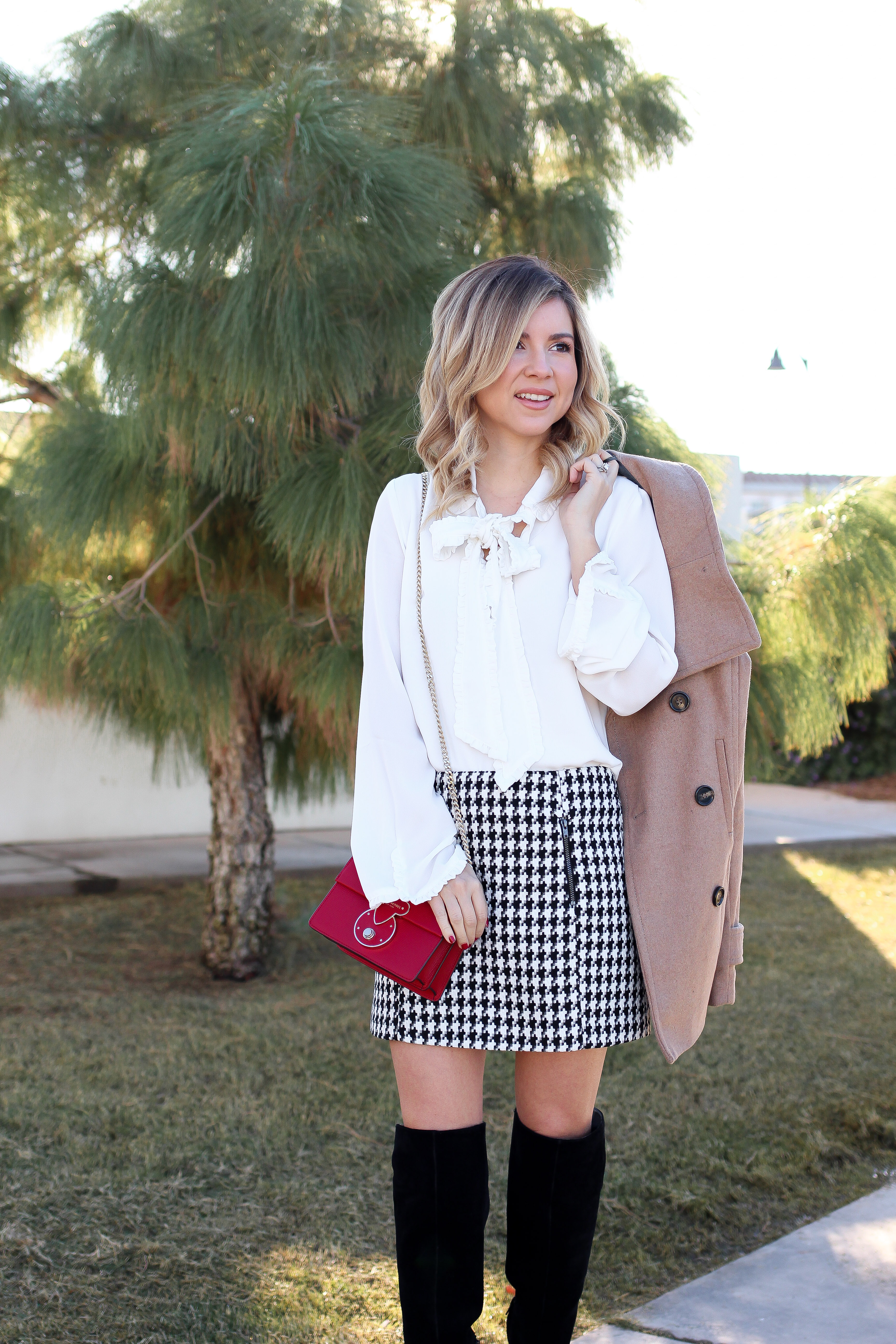 Simply Sutter - Ruffle Blouse - Houndstooth Skirt - Winter style
