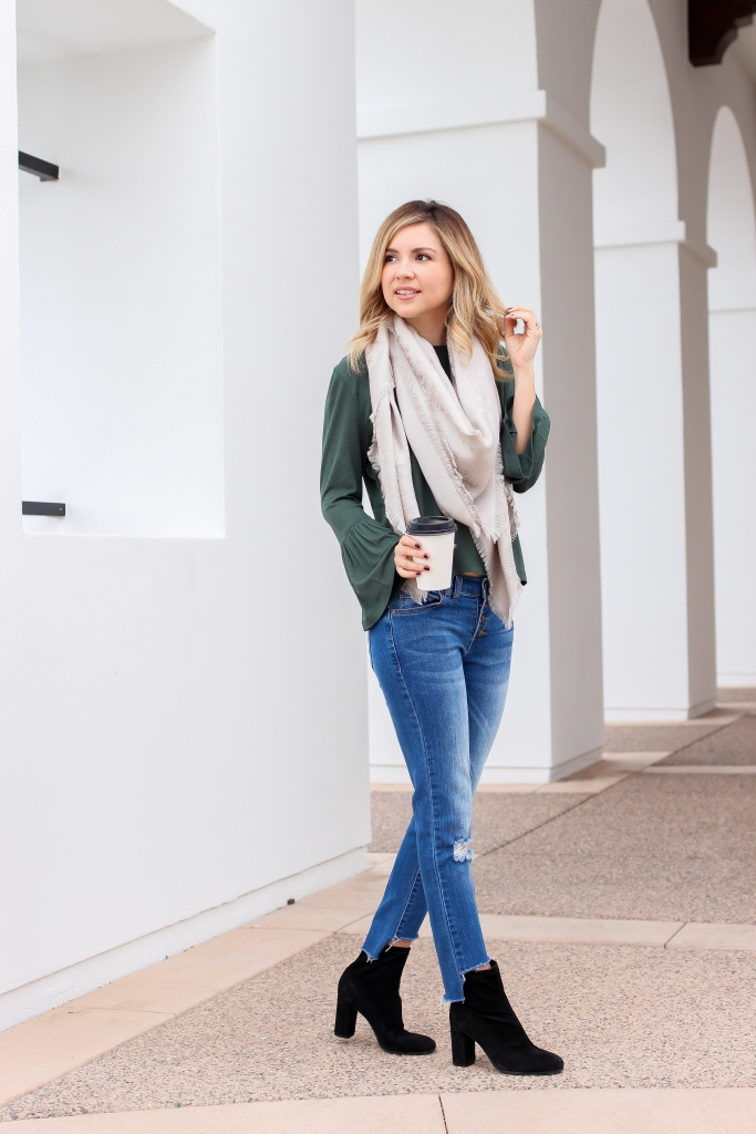 Simply Sutter - Sock Boot Outfit - Scarf green blouse - winter look