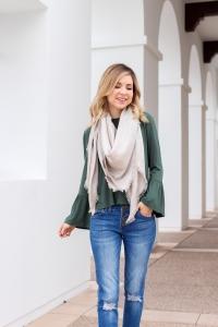 Simply Sutter - Sock Boots - Louis Vuitton Moniogram Scarf - Bell sleeve shirt - winter outfit