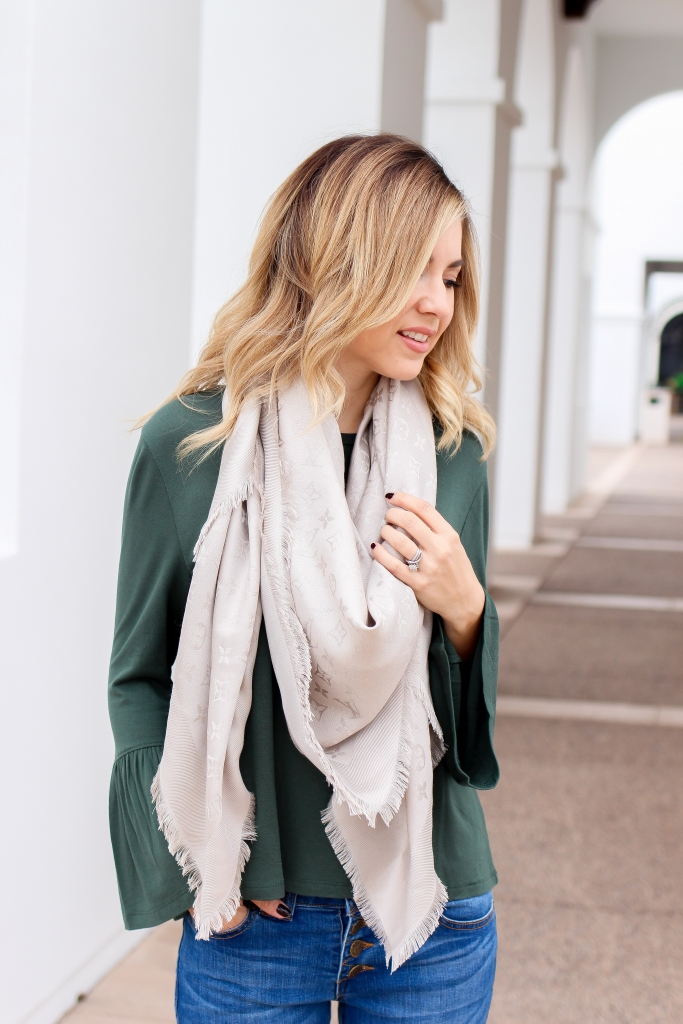 Simply Sutter - Silver Scarf - Green blouse - casual winter outfit