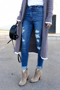 Simply Sutter - High waisted Jeans - Long cardigan