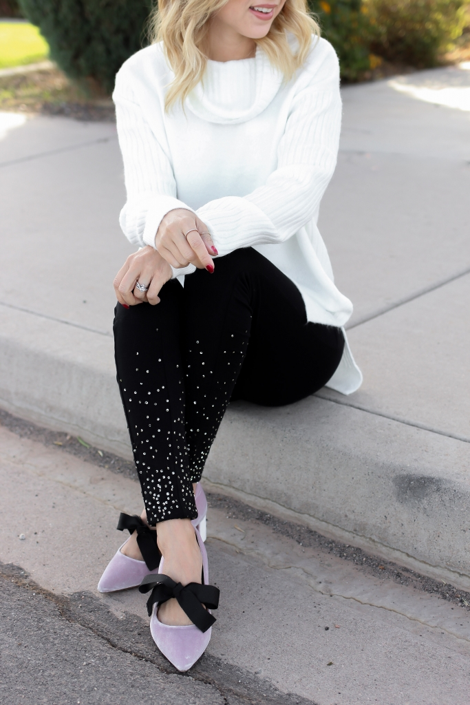 Simply Sutter - Bow Heels - nordstrom shoes - Sequin leggings