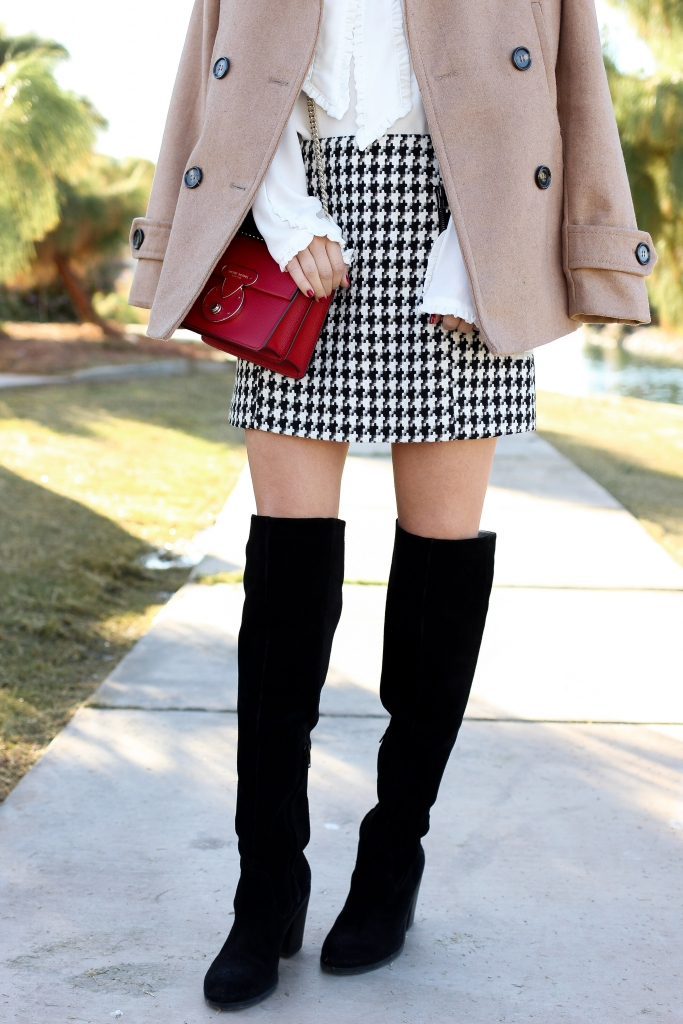 Simply Sutter - peacoat outfit - houndstooth skirt - black boots and skirt