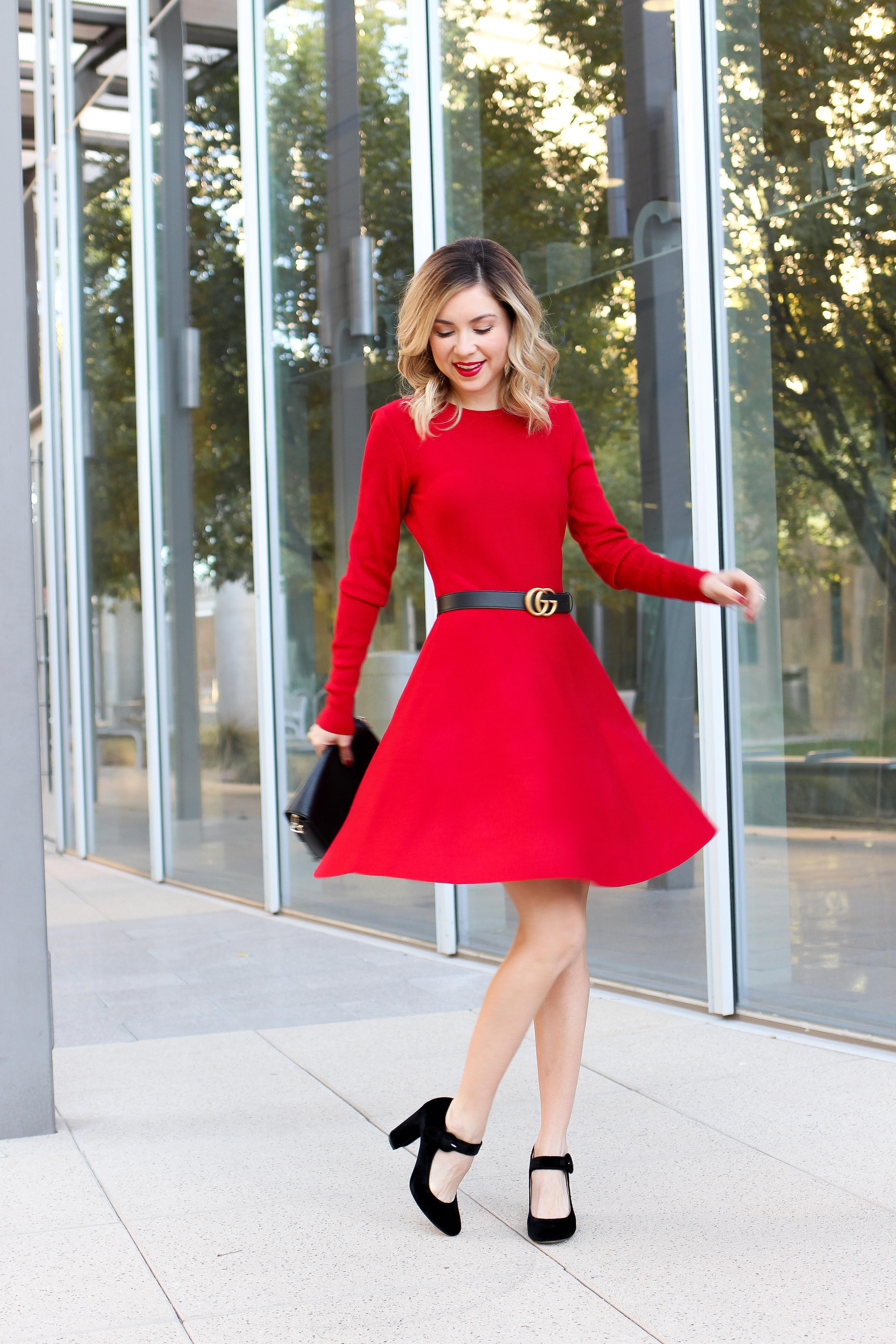 Simply Sutter – Red Dress – christmas outfit – Dillards dress – gucci belt8836