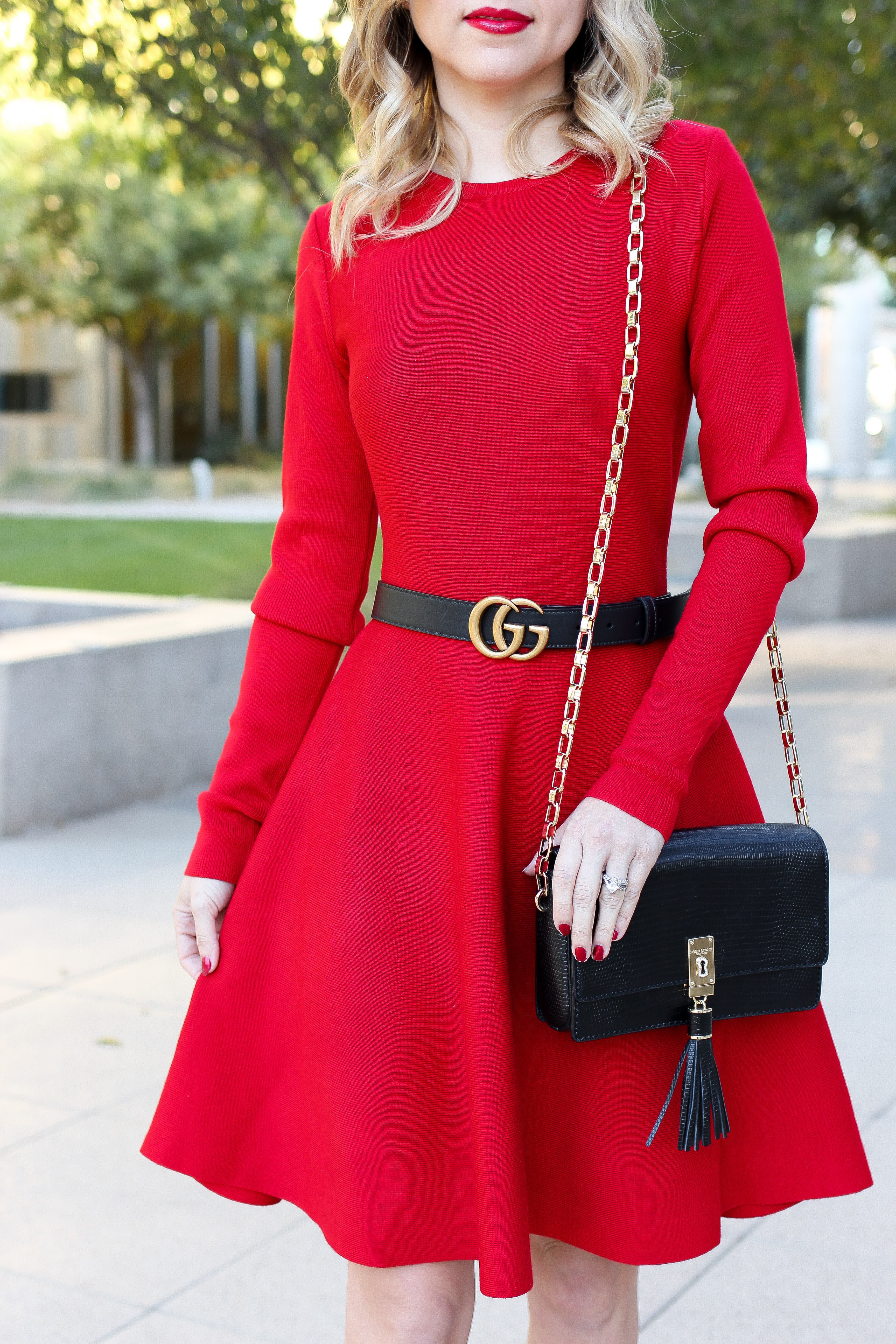 Simply Sutter – Red Dress – holiday dress – gucci belt – holiday style8879