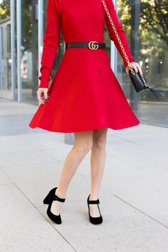 Simply Sutter - red dress - holiday dress - velvet heels