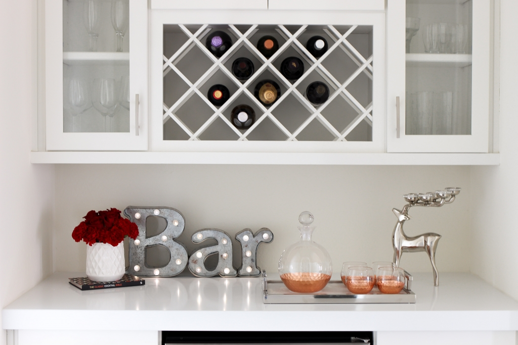 Simply Sutter - Overstock - wine rack - wine cooler - bar area
