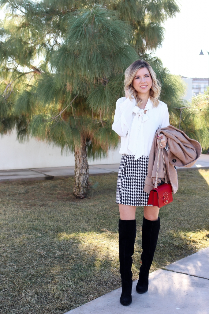 simply sutter - winter outfit - ruffle blouse - over the knee boots